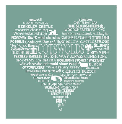 Greeting Card Cotswold Heart - Meadow Green