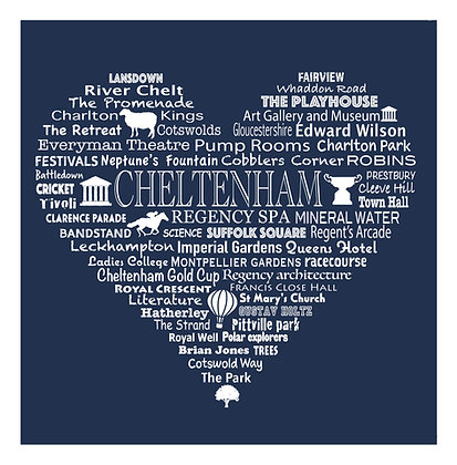 Cheltenham Heart Tea Towel - Regency Blue