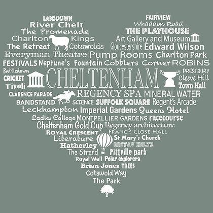 Cheltenham Heart Tea Towel - Lichen