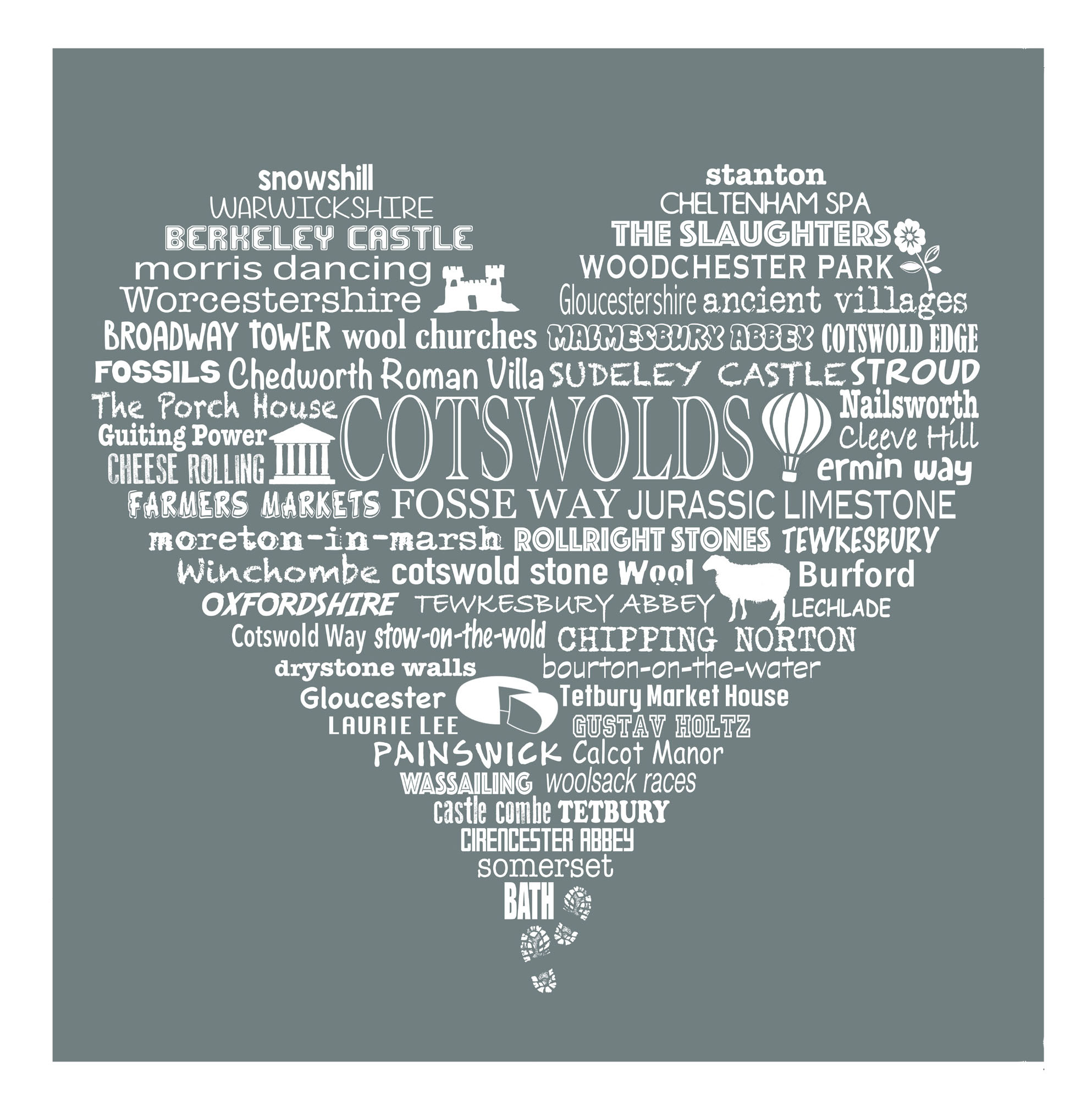 Cotswold Heart - Grey