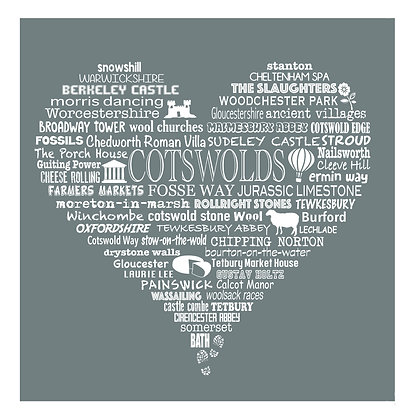 Greeting Card Cotswold Heart - Grey