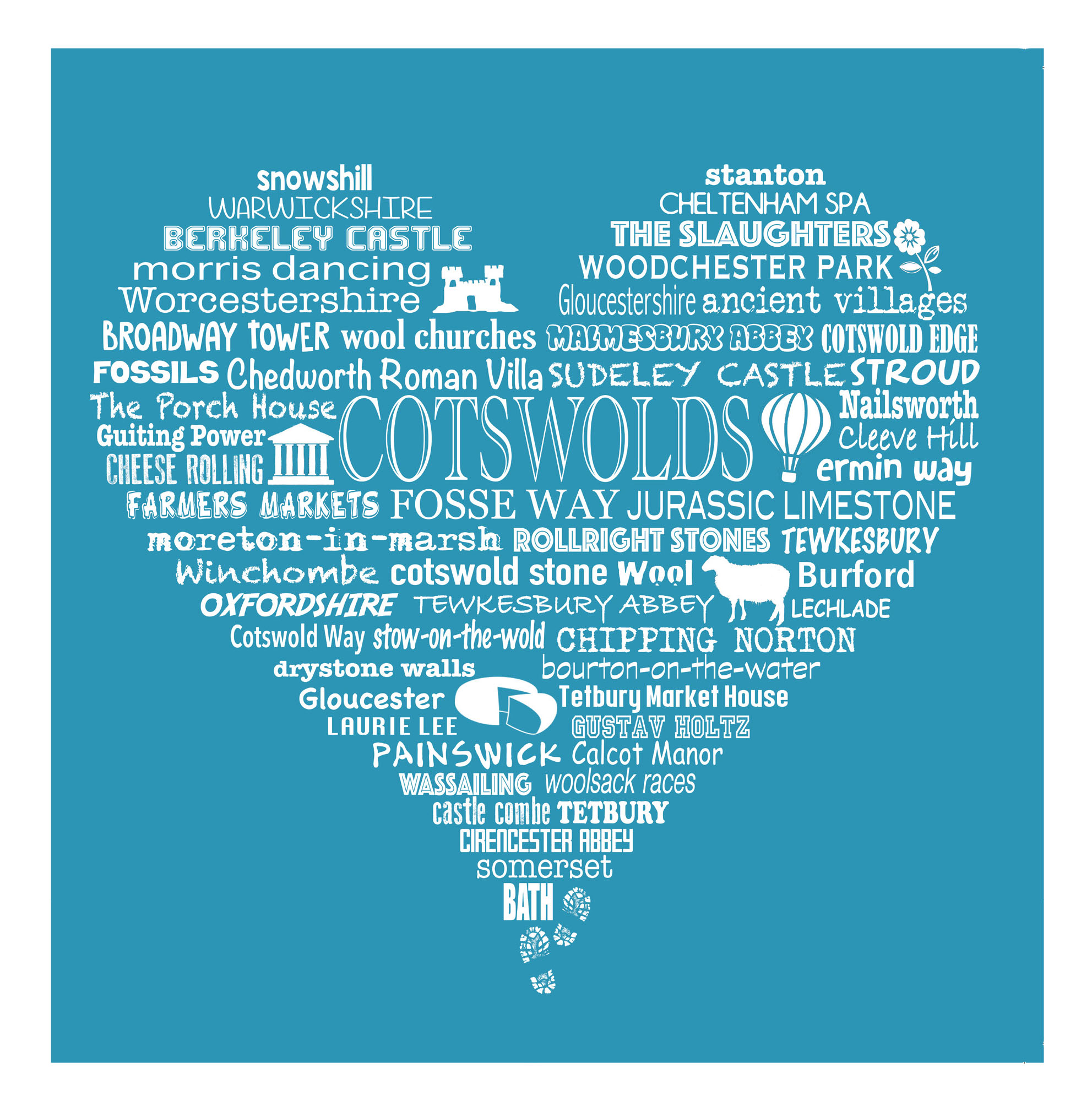 Cotswold Heart - Bright Blue