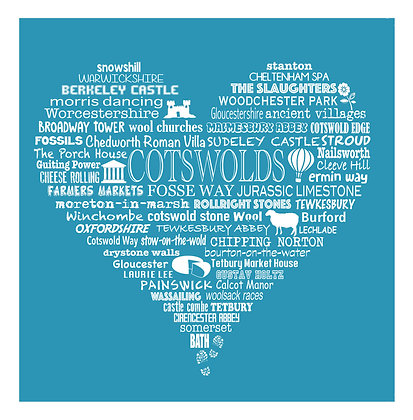 Greeting Card Cotswold Heart - Blue