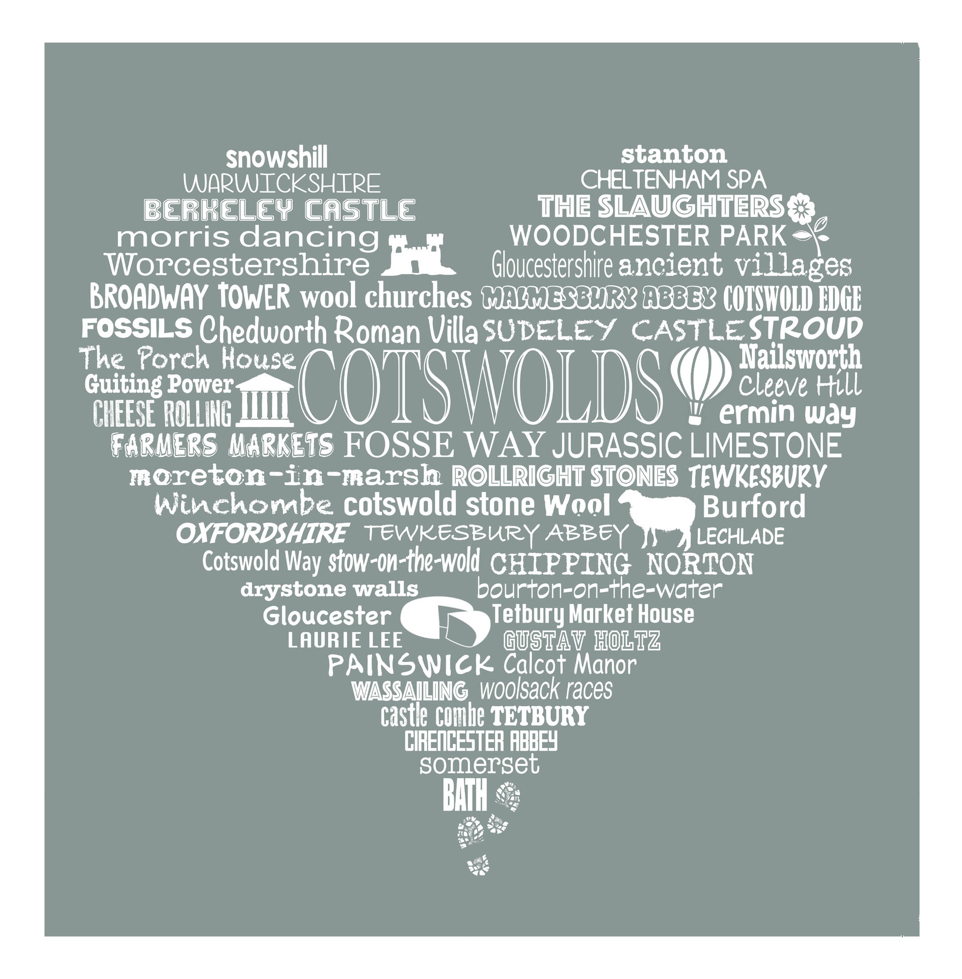 Cotswold Heart - Limestone Grey