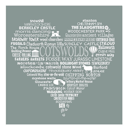 Greeting Card Cotswold Heart - Lichen