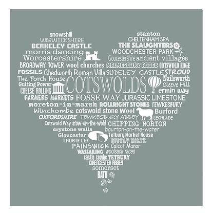 Cotswold Heart Tea Towel - Limestone Grey