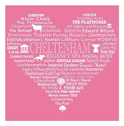 Cheltenham Heart Tea Towel - Royal Rose