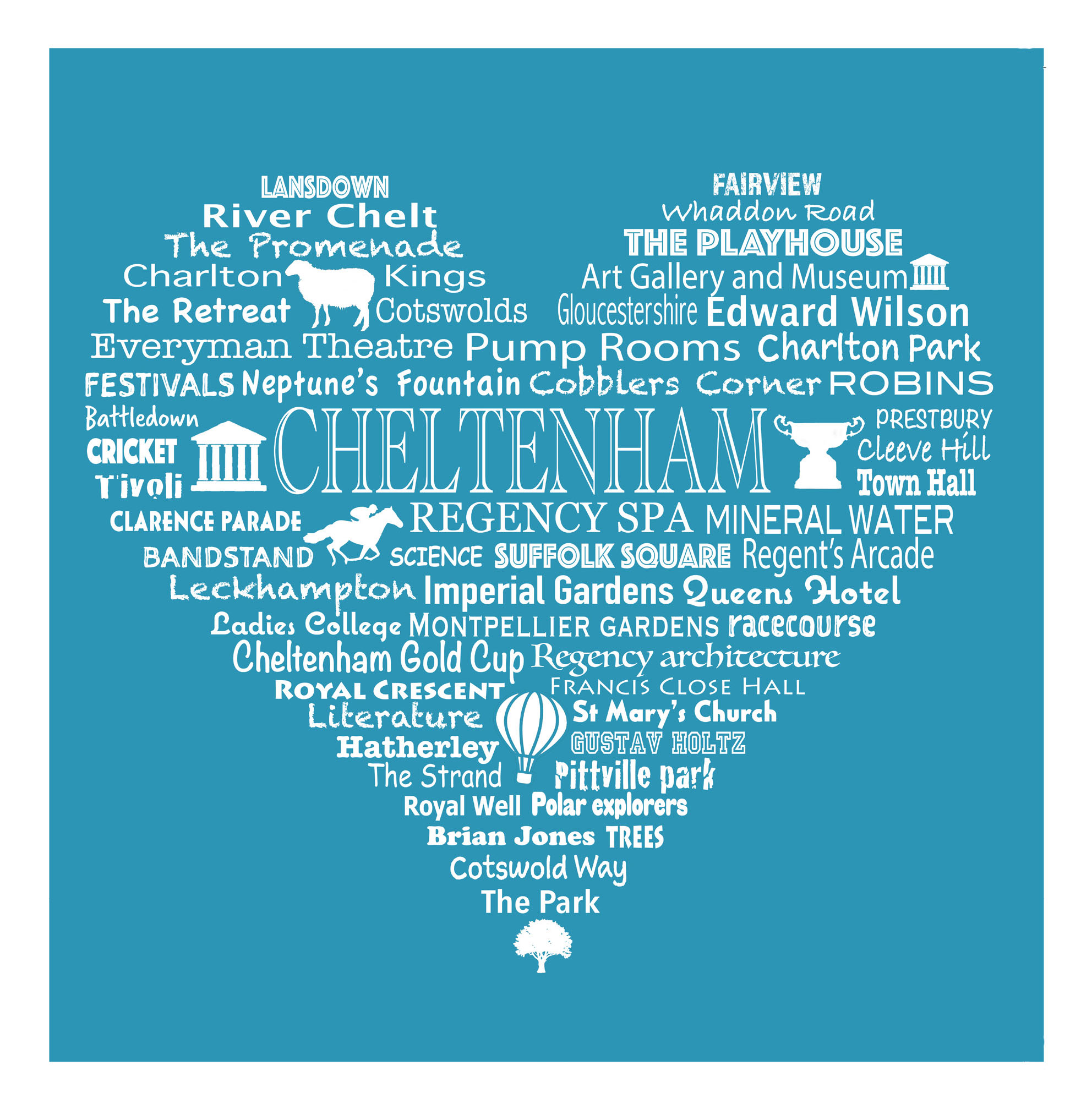Cheltenham Heart - Bright Blue