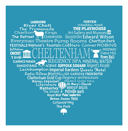 Greeting Card Cheltenham Heart - Blue