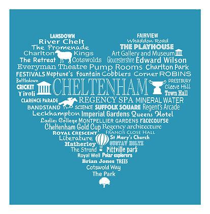 Cheltenham Heart Tea Towel - Bright Blue