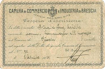 Storico attestato d'iscrizione alla Camera di Commercio di Brescia