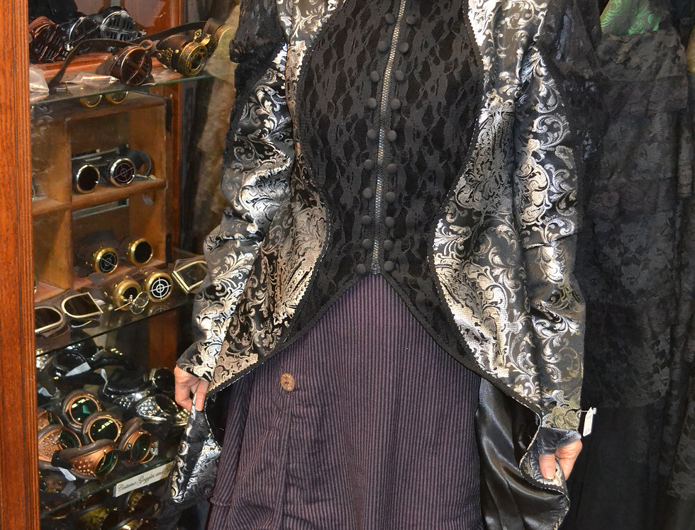 Silver/Black Brocade Megna Jacket