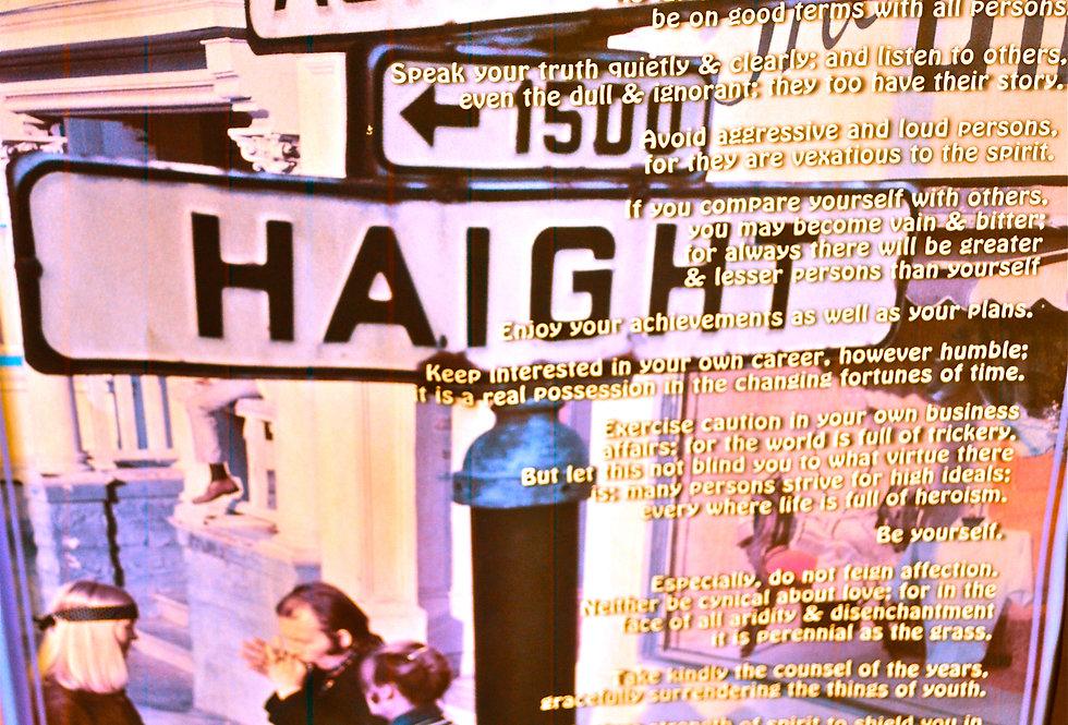 Haight Ashbury Desiderata Poem Poster