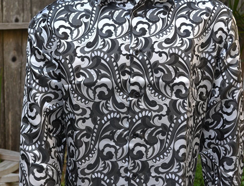 Manzini Silver/Black Psychedelic Shirt