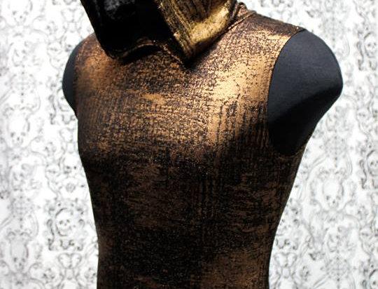 Gold Metallic Sleeveless Hoodie