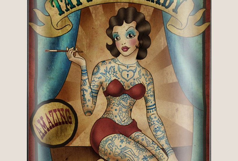 Tattoo Lady Flask