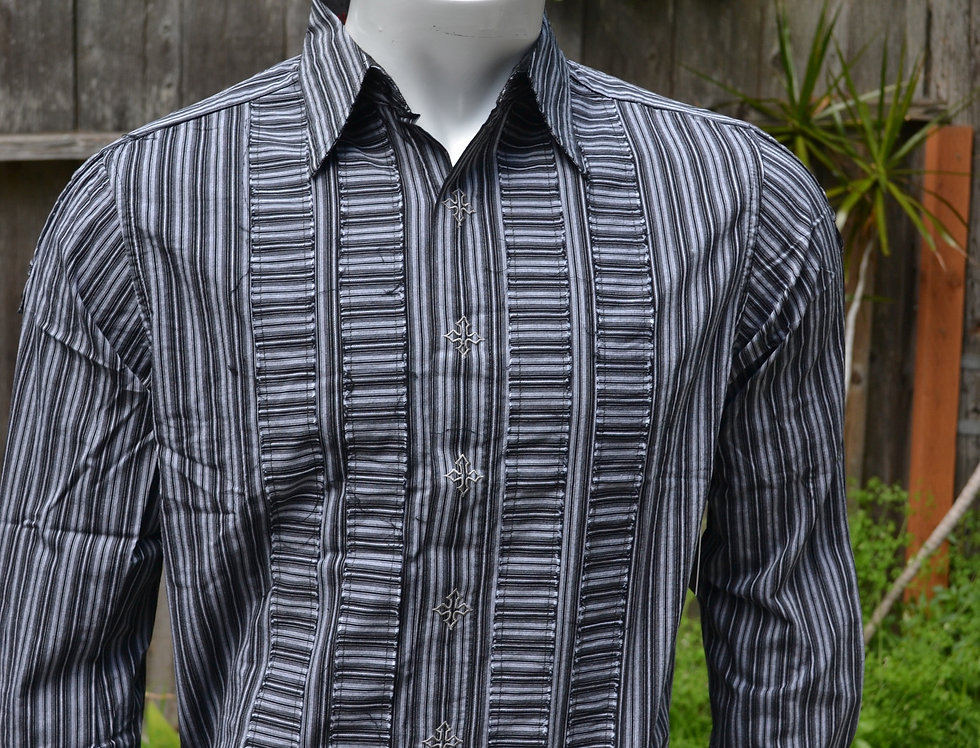 Grey and Black striped shirt with crosses