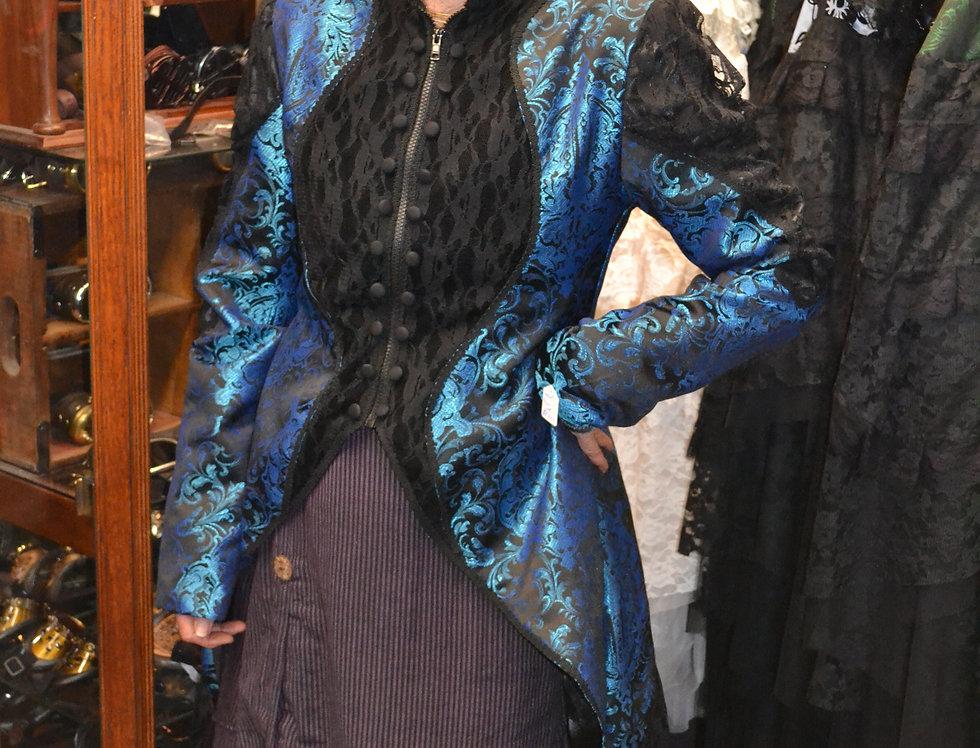 Blue/Black Brocade Megna Jacket