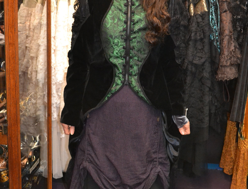 Green Brocade/Black Velvet Megna Coat