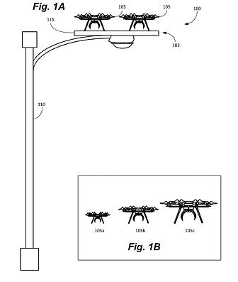 Патент amazon - парковка для дронов на фонарных столбах
