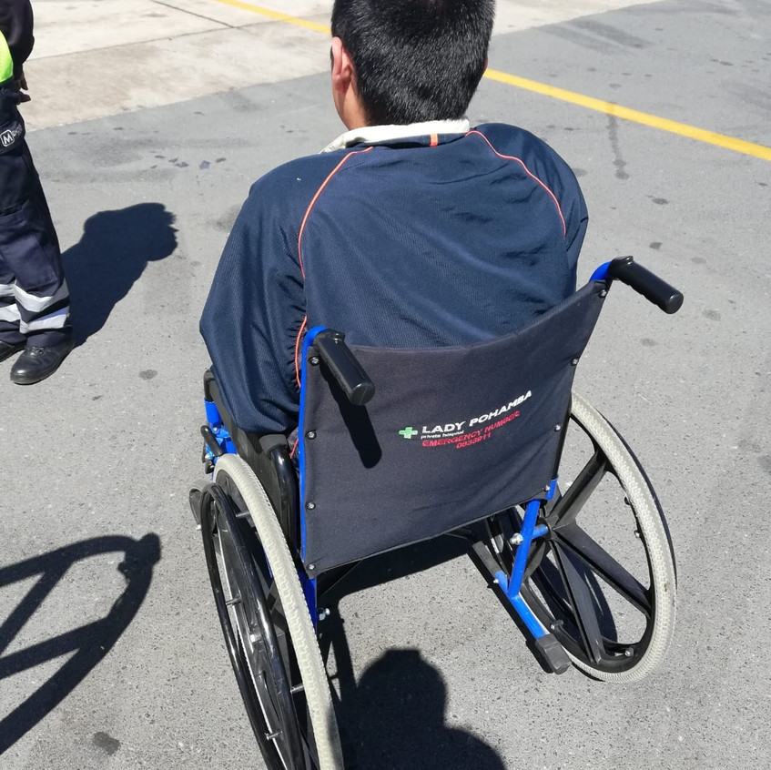 I used a wheelchair in airports when I was coming back (photo credit to Zoe Barandongo)