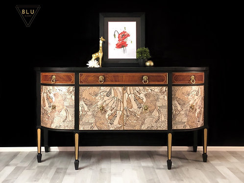Sideboard, Painted Black and Gold With Surfacephilia Decoupage