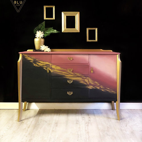 Sideboard, Drinks Cabinet, Cocktail Cabinet, Painted Blue, Pink and Gold Ombré