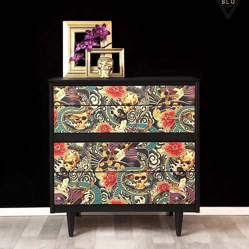 Chest of drawers vintage retro dresser decoupaged skulls and snakes