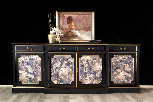 Sideboard, Painted Blue and Gold with decoupage