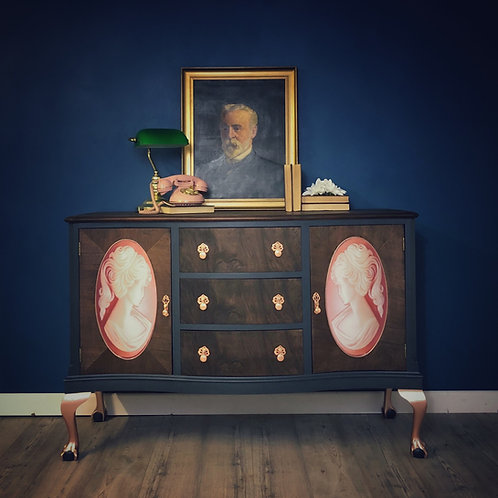 Serpentine Sideboard, Cocktail Cabinet, Upcycled Hand Painted Server, Buffet, Vi