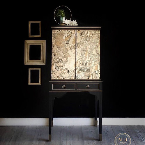 Art Deco Drinks Cabinet, Cocktail Cabinet, Black and Gold Drinks Cabinet