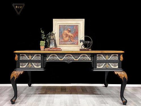 Black Desk, Anna Hayman Velvet Decoupage, Home Office, Statement Furniture