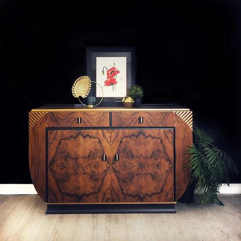 Art Deco Sideboard,Art Deco Drinks Cabinet,Burr Walnut, Black And Gold, Buffet,