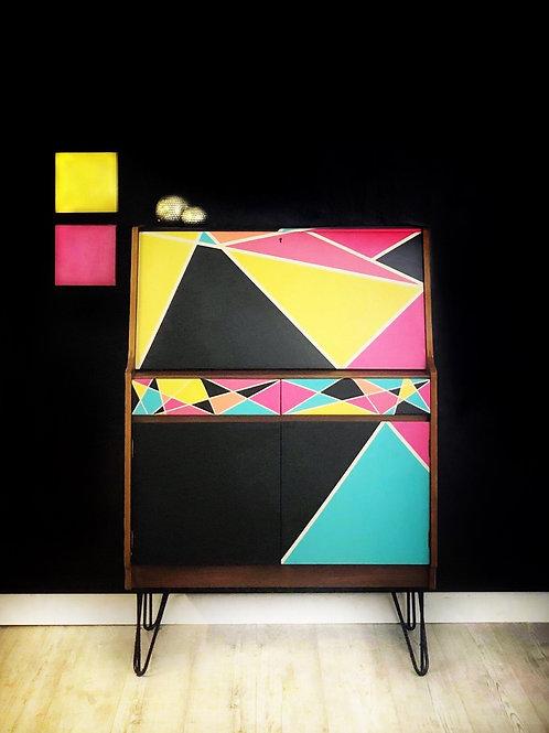 Mid Century Modern Geometric Upcycled Drinks Cabinet