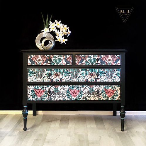 Chest of Drawers, Dressing table, Painted Black, Decoupage in ClarkeandClarke