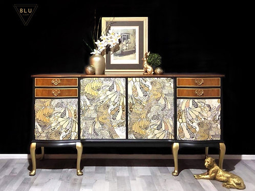 Sideboard, Painted Black and Gold With Surfacephilia Decoupage Front
