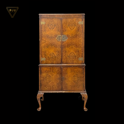 Burr Walnut Veneer Double Drinks Cabinet, Cocktail Cabinet, Home Bar