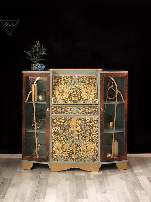 Art Deco Bureau, Drinks Cabinet, William Morris decoupage