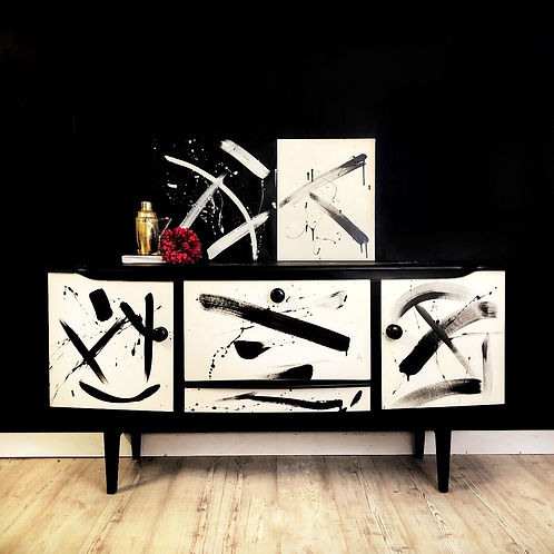 Abstract Black and White Mid Century Drinks Cabinet