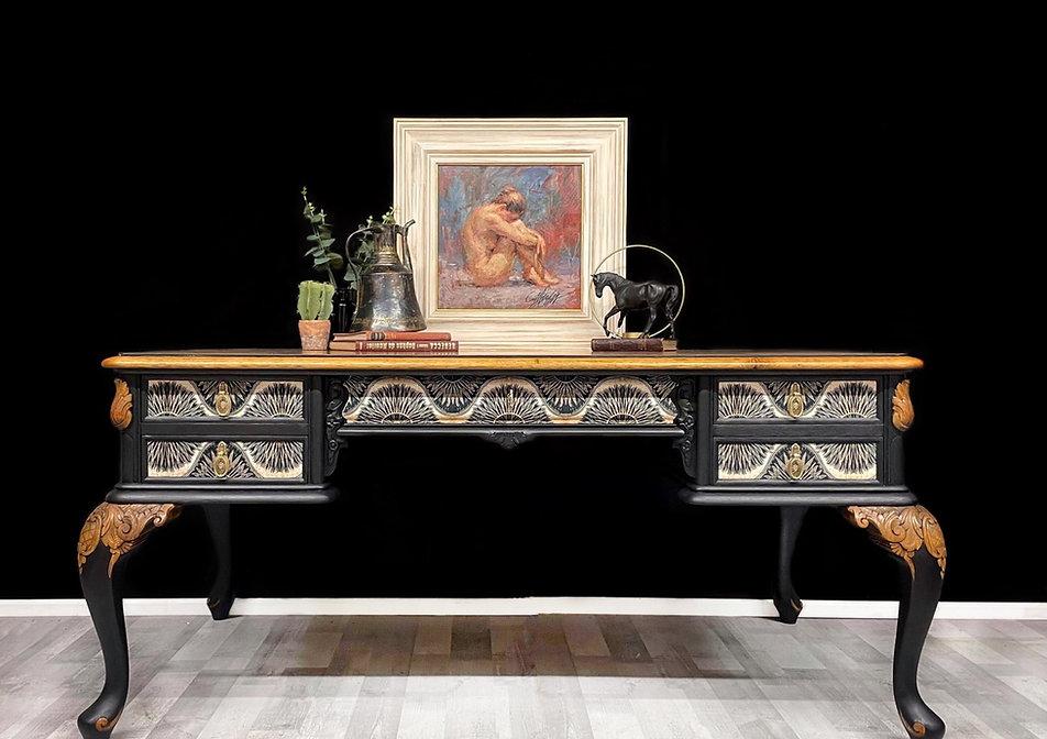 Blu_Avery_refinished desk, decoupaged velvet, black and gold