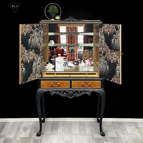 Black And Gold Willow Drinks Cocktail Cabinet