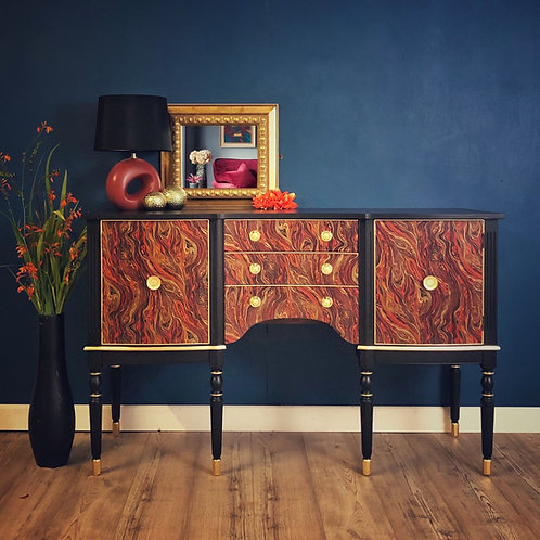 Sideboard, Drinks Cabinet, Cocktail Cabinet, Painted Black With Decoupage Front,