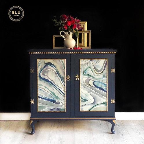 Blue Sideboard, Upcycled Drinks Cabinet, Vintage Cabinet