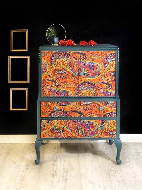 Boho Blue and Orange Drinks Cabinet