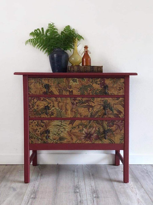 Upcycled Vintage 3 Drawer Chest Of Drawers Decoupaged And Painted