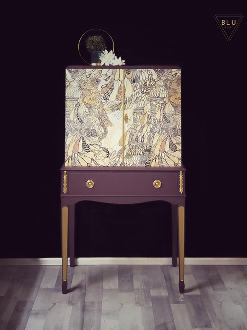 Drinks Cabinet,Painted Purple and Gold With Decoupage Front