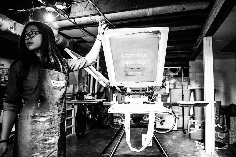 Jenny screen printing. Black and white photo