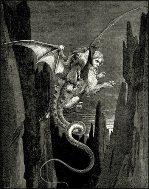 A Gustave Doré wood engraving of Geryon for Dante's Inferno