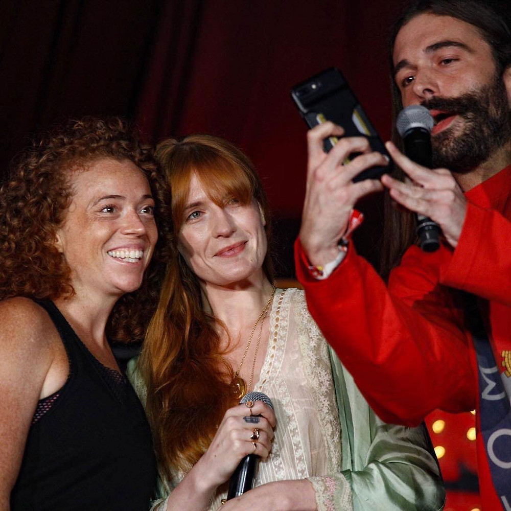 Left to right: Michele Wolf, Florence Welch, and Jonathan Van Ness