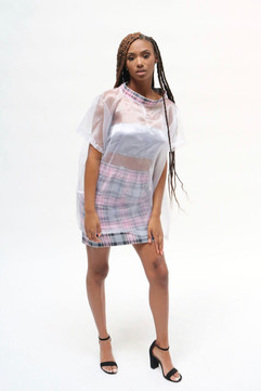 pink plaid skirt with sheer top and plaid collar